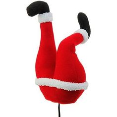 Plush Santa Claus Butt Pick Accent Christmas Tree Ornament Decor, 14 Inch x 4.5 inch x 7.5 inch on Bendable STick
