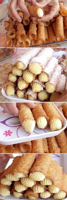 Cannoli, eh dove e il caffè? Mexican Food Recipes, Sweet Recipes, Cookie Recipes, Eclairs, Köstliche Desserts, Delicious Desserts, Good Food, Yummy Food, Tasty