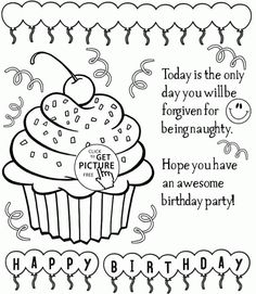 Happy Birthday Cupcake coloring page for kids, holiday coloring pages printables free - Wuppsy.com