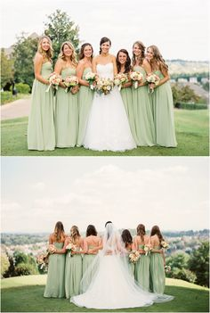 Love the mint green dresses in this golf course wedding!