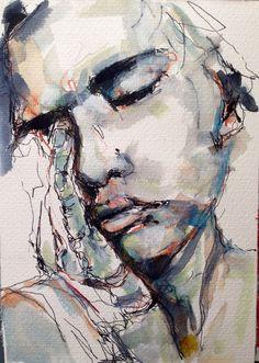 W. DECHANT  DAILY PORTRAIT - 1.8.2014 - 17 x 24 cm - Black ink - water color / paper NEXT TOMORROW