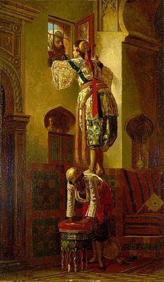 Jean Léon Gérôme - The Tryst,  c.1840 Style: Orientalism Media: oil, panel Dimensions: 32.5 x 55.1 cm Location: Saint Louis Art Museum, St. Louis, MO, US