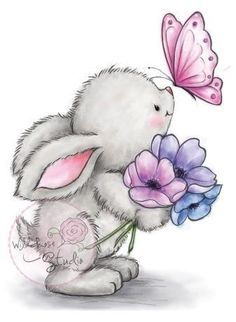Wild Rose Studio - Bunny and Butterfly Stamp This adorable little bunny will warm your heart this spring! Stamp measures approximately: x 3 inches. Illustration Mignonne, Cute Illustration, Bunny Art, Cute Bunny, Cute Drawings, Animal Drawings, Easter Drawings, Cute Images, Cute Pictures