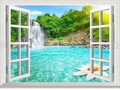 Waterfall Lotus Pool Forest 3D Window View Removable Wall Decals Home Stickers Wall Art Room decor Mural