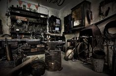 Old Garage, Garage Shed, Man Cave Garage, Garage Workshop, Dream Garage, Motorcycle Workshop, Motorcycle Shop, Motorcycle Garage, Cool Garages