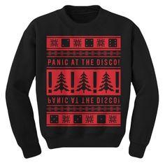 Panic at the Disco 2013 holiday design printed on a unisex black crewneck sweatshirt.