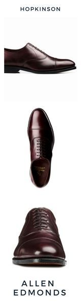 """$530 Cap-Toe Oxford  SOLD by ALLEN EDMONDS  The """"Hopkinson""""  This is an elegant dress shoe. Clean, sharp, classic. Best paired with your more serious formal wear for an event where you want to show that you mean business.  Independence Collection  Lace-up oxford dress shoes  Lambskin lined, premium calfskin leather upper    Leather insole shoes  360 degree Goodyear welted construction  Manufactured on the welted 201 Last   This shoe is recraftable & Proudly handcrafted in the USA…"""