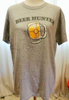 Beer Hunter Tshirt Gray Size L #FruitoftheLoom #EmbellishedTee