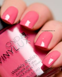 CND Vinylux - Irreverent Rose ~ vintage pink one coat smooth application ~ swatch by My Nail Polish Online