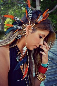 Born To Be Wild /// Electroformed Feather Ear Cuff /// Tribal, Bohemian, Boho, Gypsy, Statement, Festival Wear