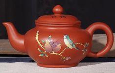 Capacity: 200ml, 300ml Material: Hand Painted Purple Clay Yixing Teapot, Tea Set, Clay, Hand Painted, Bird, Purple, Tableware, Handmade, Style