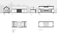 Long Studio,Elevations, Sections and Plans