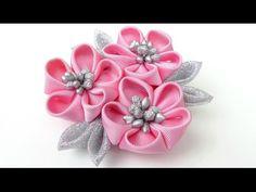 DIY Ободок с цветами канзаши из лент часть 1 / flowers of the tapes kanzashi - YouTube