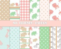Girl Digital Paper-Animals Digital Paper-Birthday Girl Paper-Baby Pink,Blue,Green,Brown-Zoo,Polka Dot,Plaid-Party Girl-Baby Girl Paper Green And Brown, Pink And Green, Pink Blue, Birthday Party Invitations, Birthday Parties, Yellow Daisies, Paper Animals, Girl Birthday, Connect