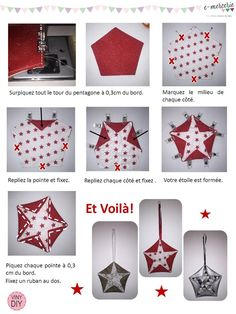 fabric ornaments no sew . fabric ornaments diy no sew . fabric ornaments diy how to make . Fabric Christmas Ornaments, Christmas Applique, Christmas Sewing, Christmas Crafts, Folded Fabric Ornaments, Paper Piecing, Fabric Origami, Diy Origami, Blog Couture