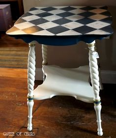 Custom Hand Painted Table Black White Checks With Lots Of Color For Mike |  Painted Tables, Children And Mackenzie Childs Inspired