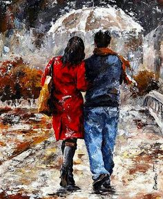Rainy Day - Walking In The Rain by Emerico Imre Toth - Rainy Day - Walking In The Rain Painting - Rainy Day - Walking In The Rain Fine Art Prints and Posters for Sale Watercolor Flower, Rain Painting, Knife Painting, Figure Painting, Couple Painting, Rain Art, Umbrella Art, Walking In The Rain, Cross Paintings