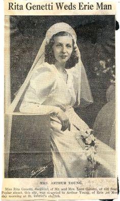 Wedding announcement of Rita Genetti to Arthur Young, October 28, 1940.