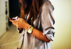 silk button down with those accessories