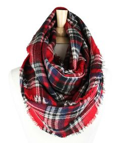 Red Plaid Wool-Blend Infinity Scarf