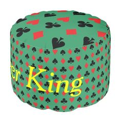 Poker King Card Suits - $140.00 - Poker King Card Suits pouf - by #RGebbiePhoto @ zazzle - #poker #card #suits - Heart, Club, Spade and Diamond in Red and Black. Poker players or card players will enjoy this repeating pattern. Great for Las Vegas theme gambling nights, or just for fun!