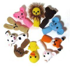 5 Crochet Finger Puppets Amigurumi Finger Puppets by Starfall Finger Crochet, Cute Crochet, Crochet For Kids, Crochet Dolls, Crochet Baby, Puppets For Kids, Hand Puppets, Amigurumi Patterns, Crochet Patterns