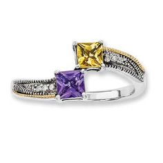Mother's Princess-Cut Simulated Birthstone Ring in Sterling Silver and 14K Gold (2 Stones)