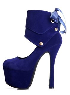 {Blue Suede High Heel Platforms Shoes With Bow}