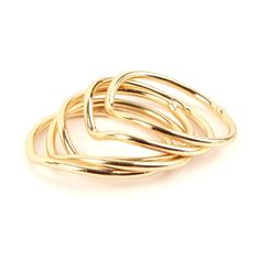 Gold Tone Chevron Finger Ring Knuckle Ring, Set of 5