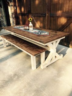 Knotty Alder farm table and bench handcrafted by L. Stephens Trading Co. in Jones, Oklahoma. The wood was stained with #Minwax Puritan Pine, followed by Minwax Weathered Oak, and finished with Minwax Driftwood. A topcoat of satin polyurethane was applied to protect the finish. ~Lynnette Stephens