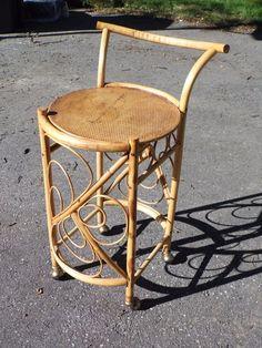 Vintage Mid Century Modern Wicker Rattan Bamboo Serving Bar Tea Cart Trolley  #MidCenturyModern