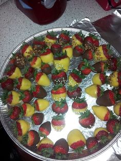 Dipped yellow and chocolate Strawberries! (1st letter of Bride's name in the middle)