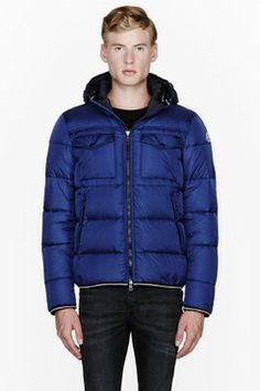 MONCLER Navy blue quilted down Thomas jacket on shopstyle.com