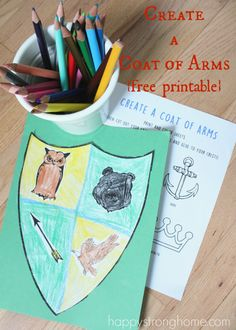 Create a Coat of Arms Activity {Free Printable!} for your little good deed do-ers! Children can select images that best portray their personalities and strengths and create a visual statement! Coloring, cutting, glue / paste activity for preschool on up. Literacy Activities, Activities For Kids, Castles Topic, Reformation Day, Magic Treehouse, Knight In Shining Armor, Renaissance, Elementary Art, Coat Of Arms