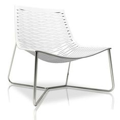 The York Lounge Chair features a stainless steel frame with laser cut natural leather seat.