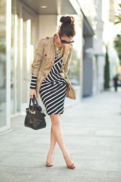 B&W Stripped Dress with neutral tone shoes & jacket