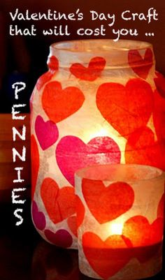 Valetine's Day Paper Mache Candle Jar. Now I want to decoupage some hearts to a paper lantern!