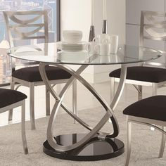 XXL In Hand Polished Stainless Steel X Seats - Glass oval dining table