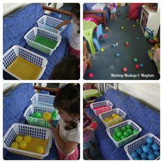 Colour Run & Sort for Toddlers: Could also do this by giving each child their own bag of mixed balls instead of having them on the floor (I picture bonked heads or fighting over the last ball), they can also race until one of them empties their whole bag
