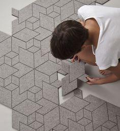 """MOQUETTE - """"Cityscapes"""", un tapis fait de modules en feutre par le studio Allt #design                                                                                                                                                                                 Plus"""