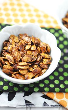 Sriracha Roasted Pumpkin Seeds- these are delicious!! Perfect for the remnants of pumpkin carving