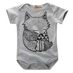 c32a62c6aeb Baby Boys Clothing Toddler Infant Newborn Baby Boys Girls Gray Fox Print  Romper Jumpsuit Playsuit Sunsuit