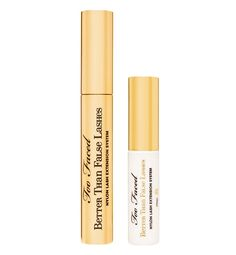 Faking It  For a lash extension effect without spending time and money on the real (faux) thing, Too Faced Better Than False Lashes two-step mascara coats hairs with tiny nylon fibers to build dramatic length and volume.