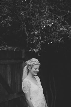 Love the sleeves on this dress.  Also love this wedding--the location, the feel, even the cute umbrellas and the bridesmaids dresses!