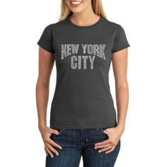 Los Angeles Pop Art Juniors nyc Neighborhoods Word Art T-Shirt, Size: XL, Gray