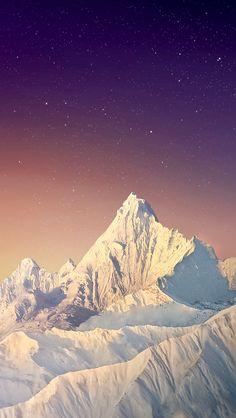Snow Mountain Peak Stars Sky iPhone 5 Wallpaper
