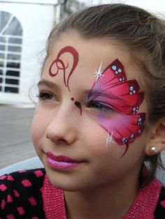 #facepainting, #butterfly, #easydesigns, www.facebook.com/SaharasPartyFaces. Design and artwork by Anna Wistrich || pink butterfly