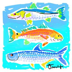 Art Print 16x20 Grand Slam Fish by artist Kelly Tracht, Art Poster Lilly Pulitzer Style Painting Palm Beach Regency