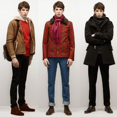 My favorite outfit of the three is the one on the left. That toggle coat is so cool. Paris Fashion, Mens Fashion, Apc, Fashion Labels, Magazine Design, Dandy, Parisian, Bomber Jacket, Winter Jackets