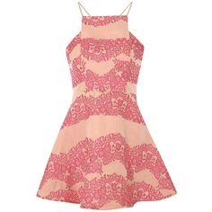 True Decadence Brocade Skater Dress, Pink Brocade ($53) ❤ liked on Polyvore featuring dresses, vestidos, maxi dresses, pink maxi dress, prom dresses, red skater dress and sleeved prom dresses